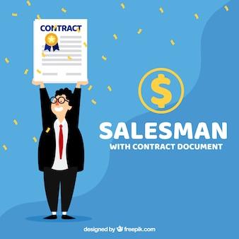 Vendedor plano com documento de contrato
