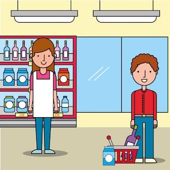 Vendedora supermercado cliente homem com cesto de compras