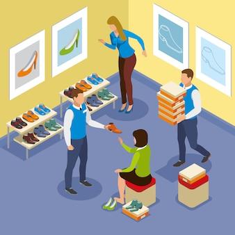 Vendedores ajudam mulher com sapato comprando composição com elementos interiores
