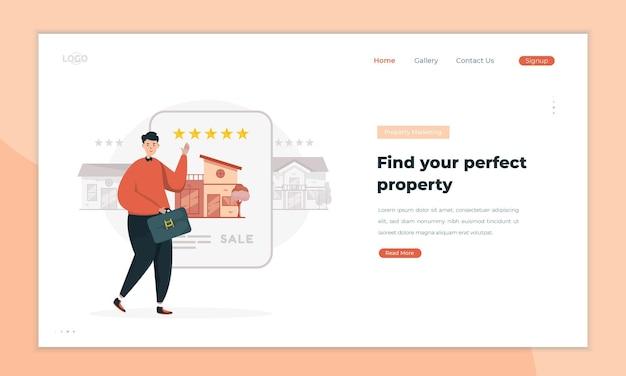 Vendedores de imóveis oferecem as melhores casas no conceito de landing pages