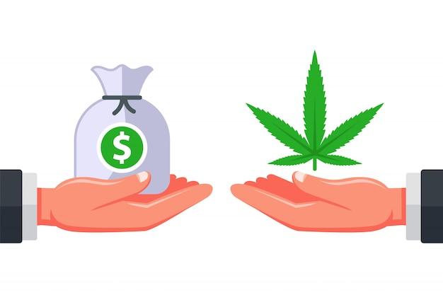 Vendendo maconha para os clientes. dependência de drogas. negócios ilegais de um revendedor. ilustração plana.