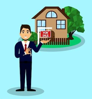 Vendendo uma casa. corretor de imóveis vende para casa. as chaves da casa nas mãos de um corretor de imóveis.