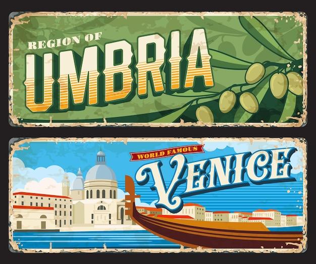 Veneza e umbria províncias italianas placas vintage e adesivos, sinais de lata de vetor. a entrada das cidades da itália canta ou a placa do carro com símbolos de referência de viagens e passeios turísticos