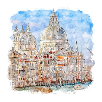 Veneza itália esboço em aquarela.