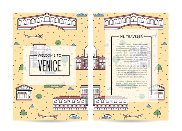 Veneza viajando modelo de folheto definido no estilo linear