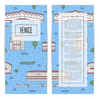 Veneza viajando panfletos definidos no estilo linear