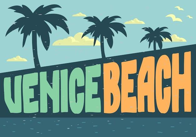 Venice beach los angeles califórnia design para imagem de cartão postal de cartaz