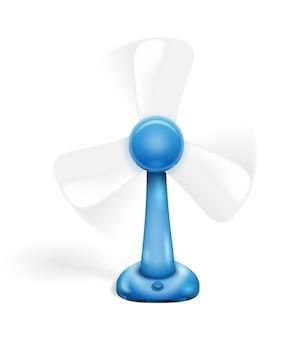 Ventilador azul isolado