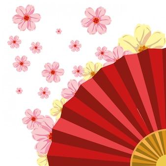 Ventilador chinês com flores de cerejeira