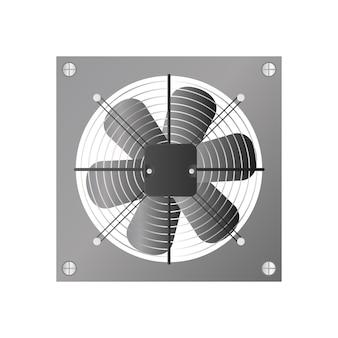 Ventilador de exaustão de estilo realista. ventilador, refrigerador para o computador. isolado