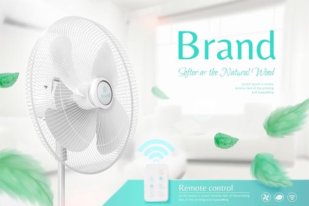 Ventilador de suporte movendo o ar na ilustração 3d, folhas verdes voando no ar com um fundo interior aconchegante e brilhante