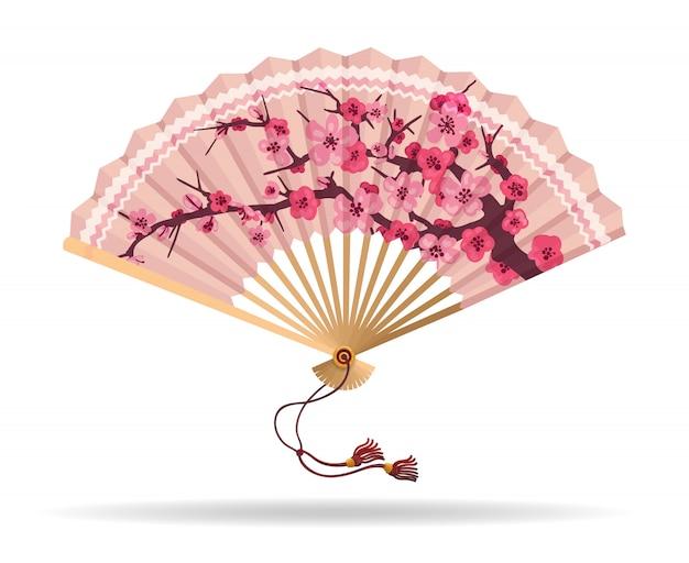 Ventilador dobrável de flor de cerejeira do japão