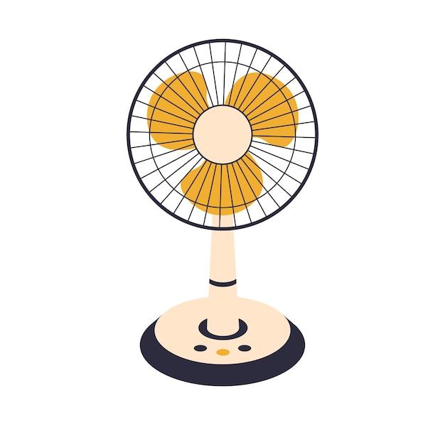 Ventilador elétrico isolado no fundo. dispositivos domésticos para refrigeração e condicionamento de ar, ilustração de controle de temperatura