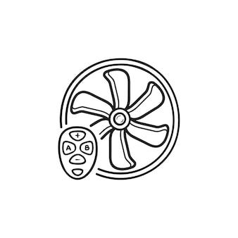 Ventilador inteligente com ícone de doodle de contorno desenhado de mão de controle remoto. conceito de casa inteligente, ventilação e refrigeração de ar