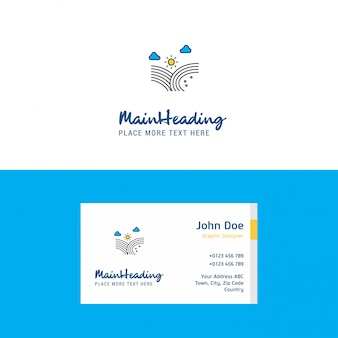 Vento soprando logotipo e modelo de cartão de visita