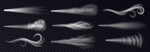 Vento soprando ou pulverização de poeira, fumaça branca realista vapor, pó ou trilha de gotas de água. névoa de fluxo, vapor de produto químico esfumaçado ou cosmético. ilustração em vetor 3d realista