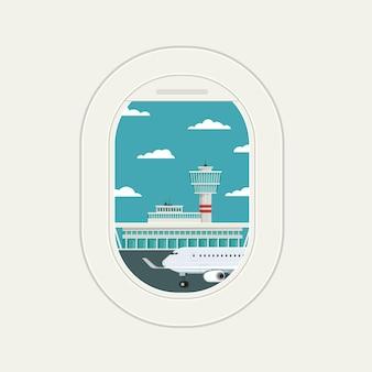Ver janela do avião no aeroporto de chegadas e partidas de viagens