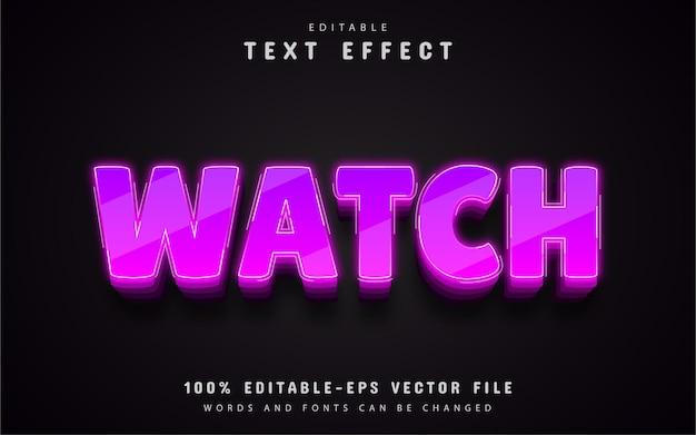 Ver texto, efeito de texto 3d roxo