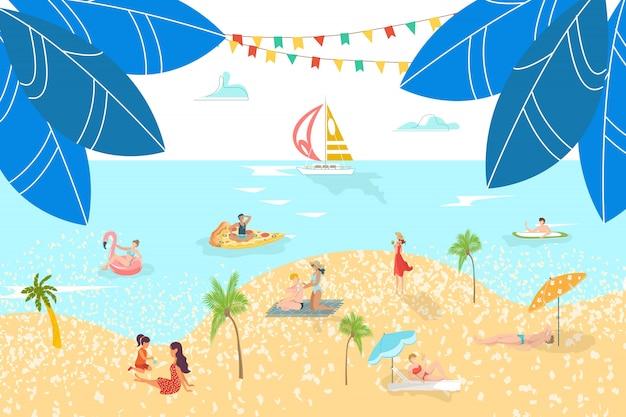 Veranistas na praia do mar descansar pessoas tomando banho de sol, navegando surf na areia, ilustração de resort de água de férias.