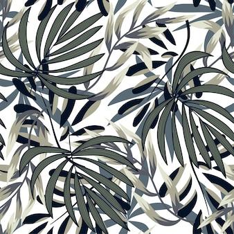 Verão abstrata padrão sem emenda com folhas tropicais coloridas e plantas em um fundo delicado