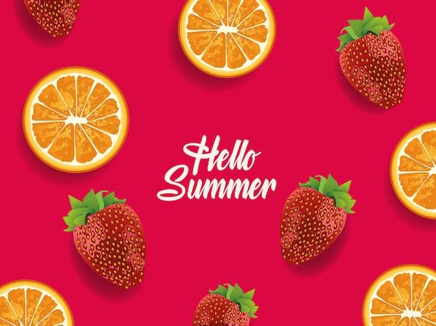 Verão amarelo com padrão de frutas laranjas e morangos.