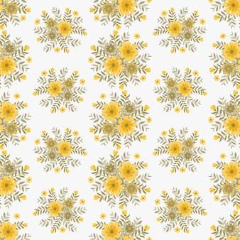 Verão amarelo flores grinalda hera estilo com galho e folhas, padrão sem emenda
