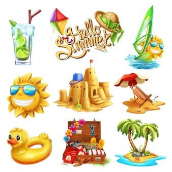 Verão ambientado em estilo 3d