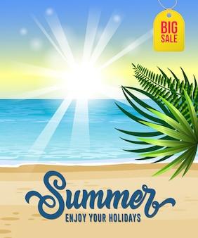 Verão, aproveite as suas férias, flyer grande venda com mar, praia tropical, nascer do sol