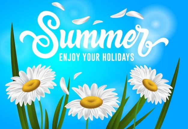 Verão, aproveite suas férias banner sazonal com flores de camomila