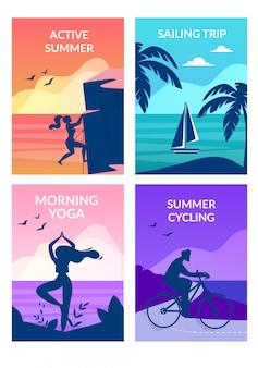 Verão ativo, ioga da manhã, ciclismo, viagem de vela