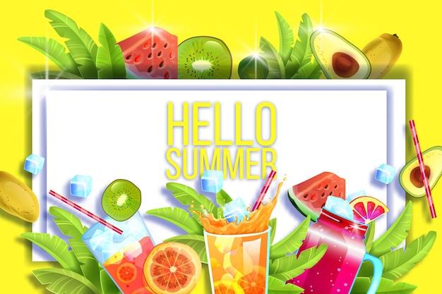 Verão. bebidas geladas, frutas exóticas