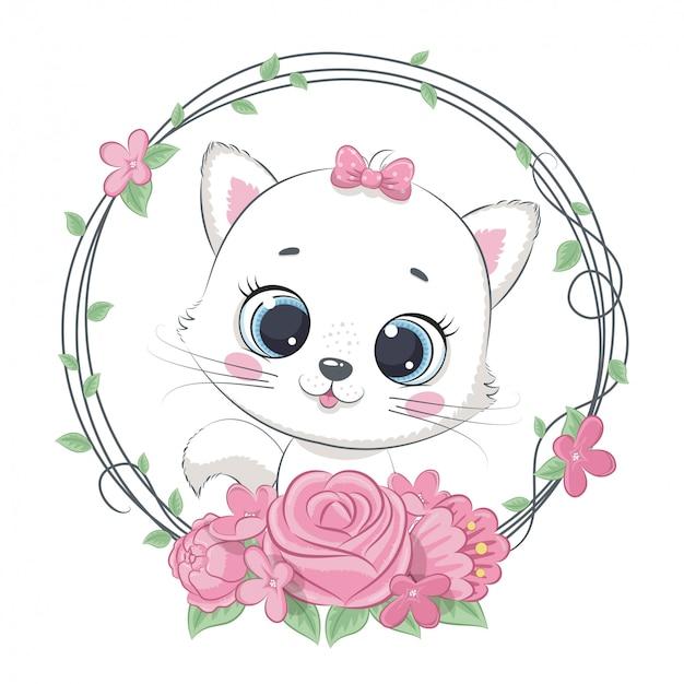 Verão bonito bebê gato com coroa de flores.