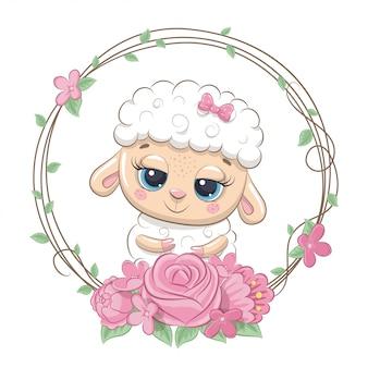 Verão bonito bebê ovelha com coroa de flores.
