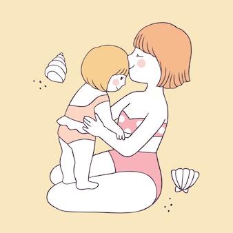 Verão bonito dos desenhos animados mãe e filha