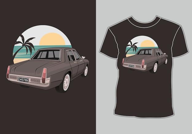 Verão camiseta clássico, vintage, retrô carro na praia