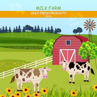 Verão campos verdes e vacas