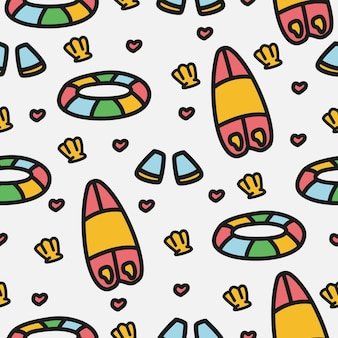 Verão cartoon desenho padrão doodle