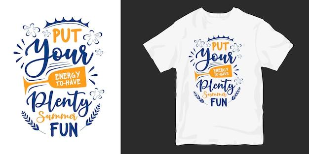 Verão cita tipografia mão lettering design de t-shirt