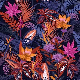 Verão colorido noite selvagem floresta sem costura padrão vector