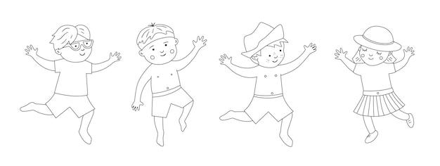 Verão com crianças em trajes de banho com objetos de praia. coleção bonito preto e branco de crianças felizes. diversão linha de férias no mar. página para colorir de verão.