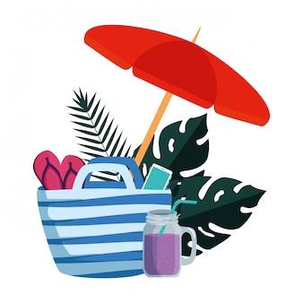 Verão com folhas tropicais e guarda-chuva