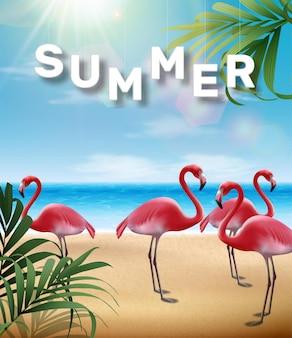 Verão com folhas tropicais e ilustração de pássaro flamingo