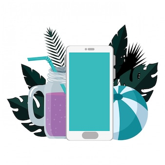 Verão com folhas tropicais e smartphone
