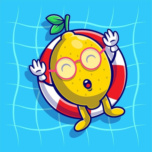 Verão com limão fofo relaxando usando bóia de natação