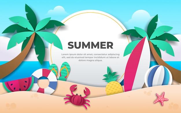 Verão com origami de decoração no fundo da praia
