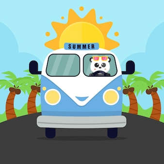 Verão com van e panda