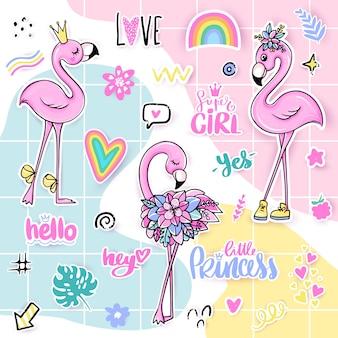 Verão conjunto com flamingos cor de rosa.