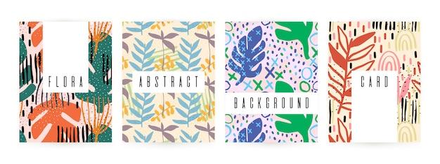 Verão criativo do fundo com elementos florais e texturas diferentes.