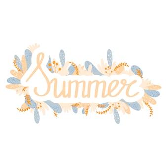 Verão da flor da citação do verão da estação da menina. mão-de-rosa cor desenhada letras caligrafia com flores