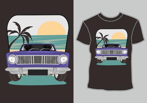 Verão de camiseta, carro antigo retrô na praia